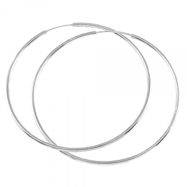 Cercei 5 cm Silver din argint rodiat