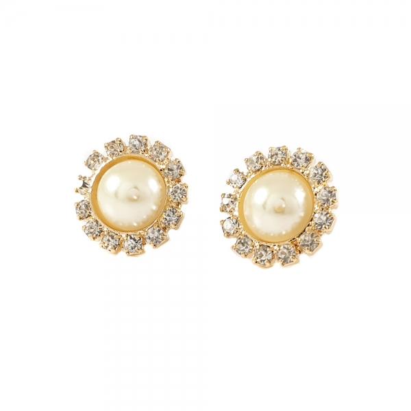 Cercei cu perla placati cu aur Rock Shine