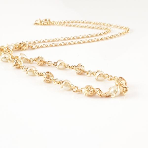 Colier cu perle placat cu aur Party