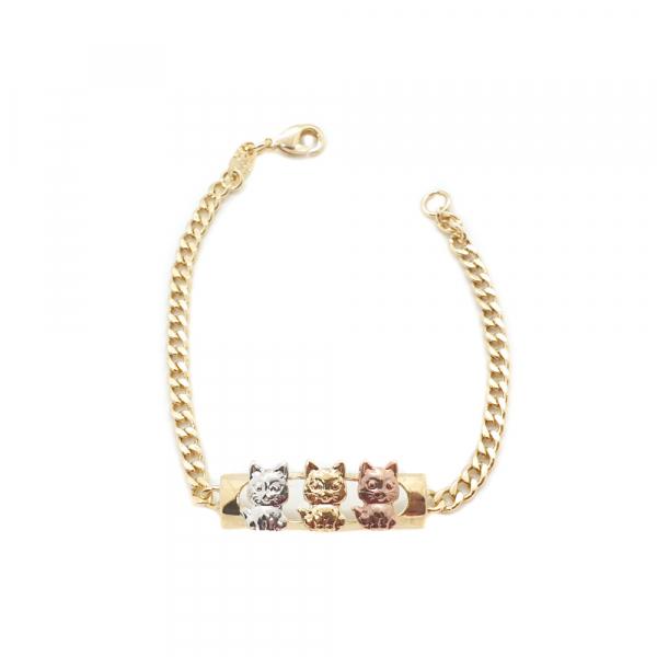 Bratara pentru copii placata cu aur Cats