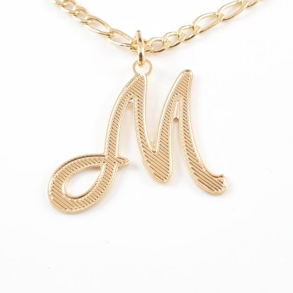 Colier personalizat placat cu aur Litera M