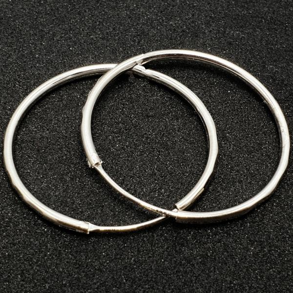Creole 3.4 cm Silver din argint rodiat