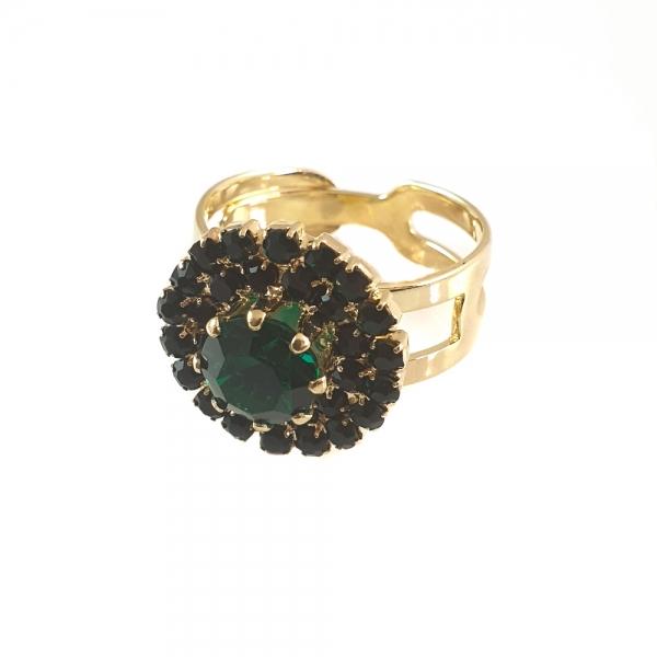 Inel placat cu aur Royal Green