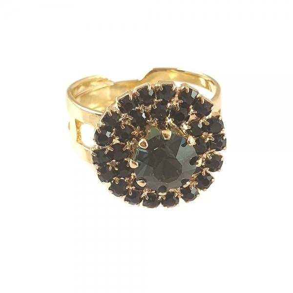 Inel placat cu aur Green Crown
