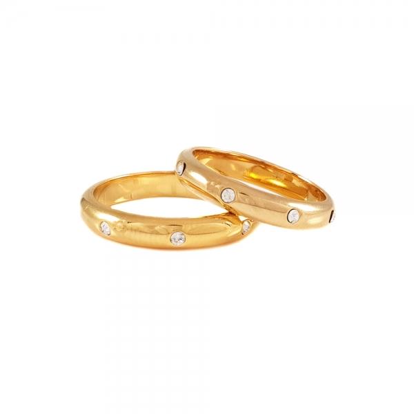 Inel placat cu aur tip verigheta cu strasuri