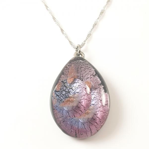 Colier cu sticla de Murano si argint Galaxy